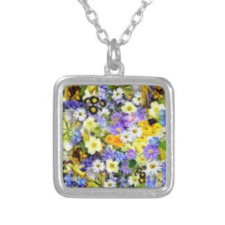 Colagem floral da explosão de cor do primavera bijuterias