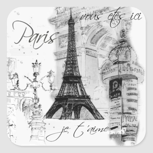 Colagem francesa da cena da torre Eiffel de Paris Adesivo Quadrado