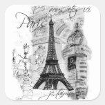 Colagem francesa da cena da torre Eiffel de Paris Adesivo Em Forma Quadrada