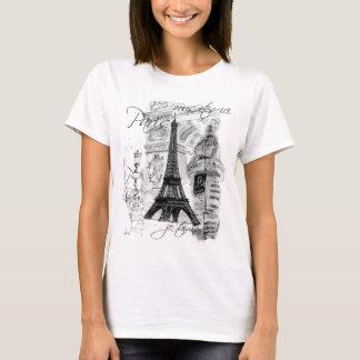 Colagem francesa da cena da torre Eiffel de Paris Camiseta