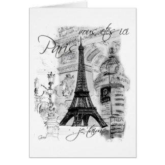 Colagem francesa da cena da torre Eiffel de Paris Cartão