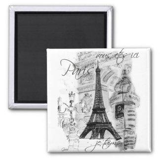 Colagem francesa da cena da torre Eiffel de Paris Ímã Quadrado
