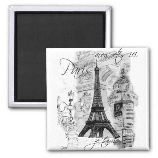 Colagem francesa da cena da torre Eiffel de Paris Imã