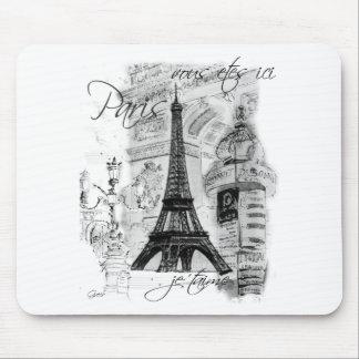 Colagem francesa da cena da torre Eiffel de Paris Mouse Pads