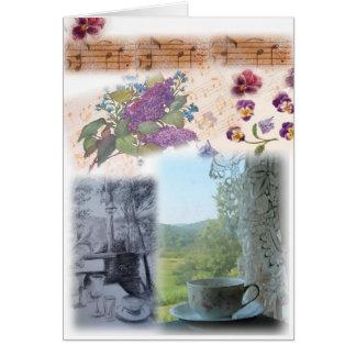 colagem ilustrada do teacup das notas musicais cartoes