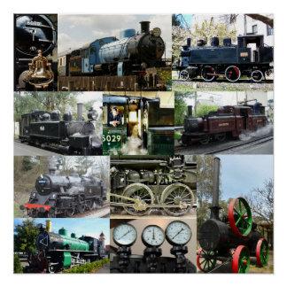 Colagem locomotiva antiga do trem do motor de pôster
