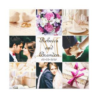 Colagem Monogrammed da foto do casamento moderno à Impressão Em Tela