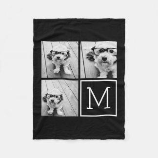 Colagem na moda preto e branco da foto com cobertor de velo