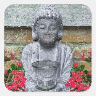 Colagem pequena da escultura de Buddha Adesivo Quadrado