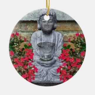 Colagem pequena da escultura de Buddha Ornamento De Cerâmica Redondo