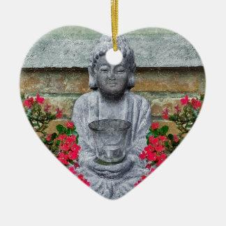 Colagem pequena da escultura de Buddha Ornamento De Cerâmica Coração