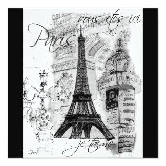 Colagem preta & branca da torre Eiffel de Paris Convite Personalizado