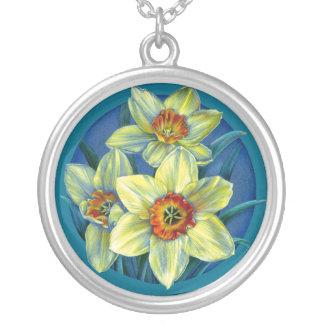 Colar amarela azul da arte dos daffodils do