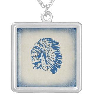 Colar americana do chefe indiano da silhueta azul