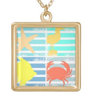Colar Banhado A Ouro 4 quadrados do design do oceano