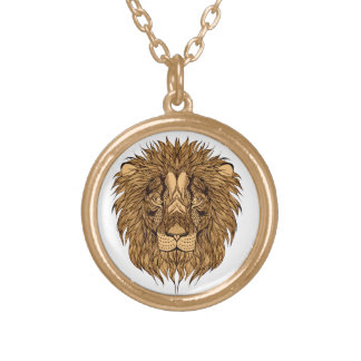 Colar Banhado A Ouro A cabeça do leão