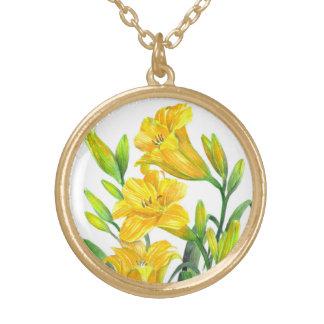 Colar Banhado A Ouro Arte floral amarela dos lírios de dia da aguarela