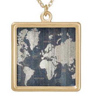 Colar Banhado A Ouro Azul do mapa de Velho Mundo