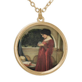 Colar Banhado A Ouro Bola de cristal pelo Waterhouse, arte do Victorian