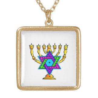 Colar Banhado A Ouro Castiçal da estrela de David