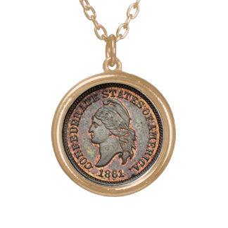 Colar Banhado A Ouro Confederado dos EUA da moeda de um centavo 1861 da