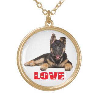 Colar Banhado A Ouro Corações vermelhos do amor do cão de filhote de