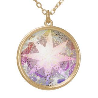 Colar Banhado A Ouro Cristal de rocha cor-de-rosa do compasso da