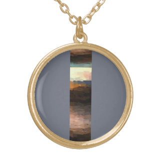 Colar Banhado A Ouro Design da tira do abstrato da terra