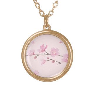 Colar Banhado A Ouro Flor de cerejeira - rosa