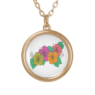 Colar Banhado A Ouro Flor do hibiscus