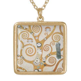 Colar Banhado A Ouro Gustavo Klimt a árvore da arte Nouveau da vida