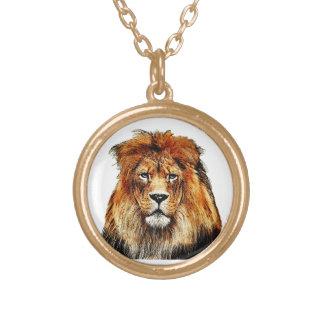 Colar Banhado A Ouro Leão africano