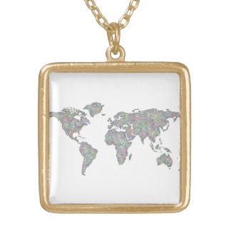 Colar Banhado A Ouro Mapa do mundo