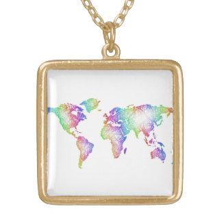 Colar Banhado A Ouro Mapa do mundo do arco-íris