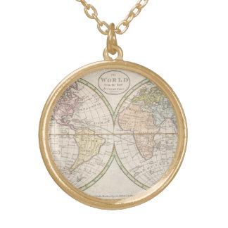 Colar Banhado A Ouro Mapa do mundo do vintage