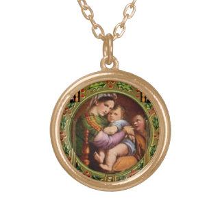 Colar Banhado A Ouro Mary e Jesus com azevinho