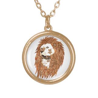 Colar Banhado A Ouro Máscara do leão