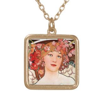 Colar Banhado A Ouro Menina bonito do nouveau da arte com flores