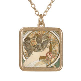 Colar Banhado A Ouro mulher floral do nouveau da arte