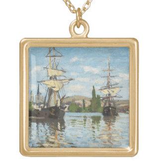 Colar Banhado A Ouro Navios de Claude Monet | que montam no Seine em