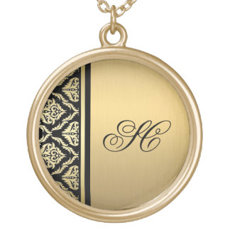 Colar Banhado A Ouro neckace personalizado do damasco do preto do ouro