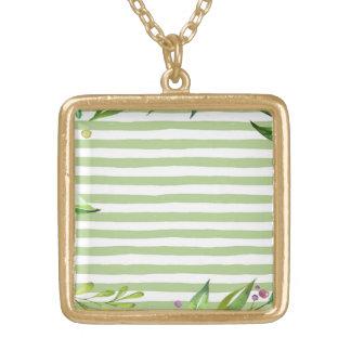 Colar Banhado A Ouro O verde corajoso da arte da aguarela listra o