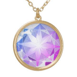 Colar Banhado A Ouro Olhar cor-de-rosa azul do cristal de rocha do