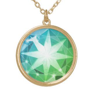 Colar Banhado A Ouro Olhar do cristal de rocha do compasso de pedra