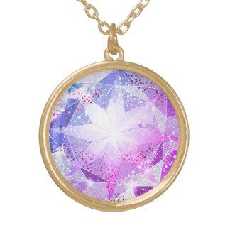 Colar Banhado A Ouro Olhar roxo azul do cristal de rocha de pedra