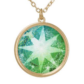 Colar Banhado A Ouro Olhar verde do cristal de rocha de pedra preciosa