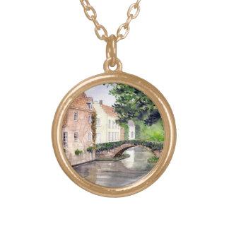 Colar Banhado A Ouro Pintura da aguarela de Bruges pelo Greenfield de