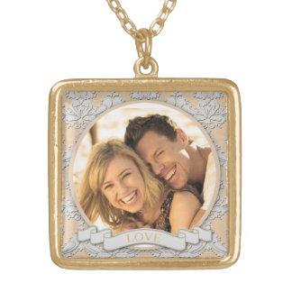 Colar Banhado A Ouro Quadrado customizável Necklace_Medium do amor