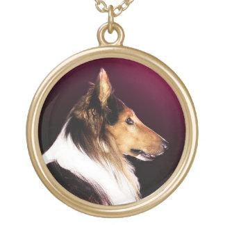 Colar Banhado A Ouro Retrato áspero do cão do Collie