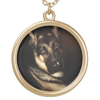 Colar Banhado A Ouro Retrato do cão de german shepherd